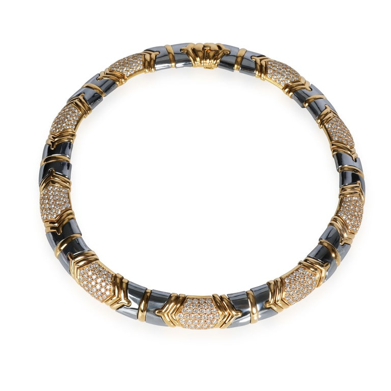 Round Cut Bulgari Parentisi Diamond & Hematite Necklace in 18K Yellow Gold 11.51 CTW For Sale
