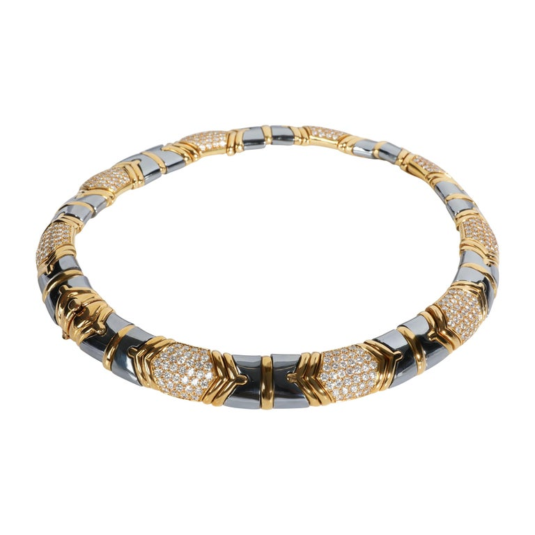 Bulgari Parentisi Diamond & Hematite Necklace in 18K Yellow Gold 11.51 CTW For Sale