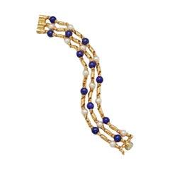 Bulgari Passio Doppio Pearl & Lapis Yellow Gold Bracelet
