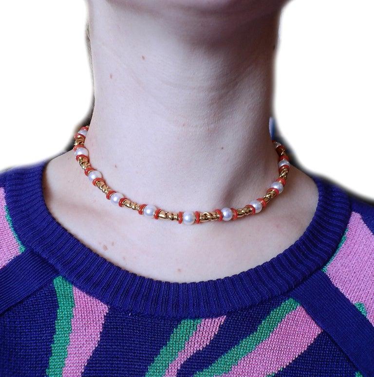 Women's Bulgari Passo Doppio Coral Pearl Gold Necklace For Sale
