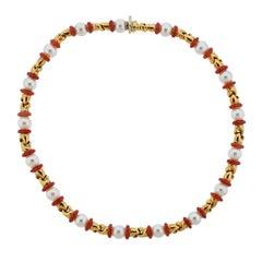 Bulgari Passo Doppio Coral Pearl Gold Necklace
