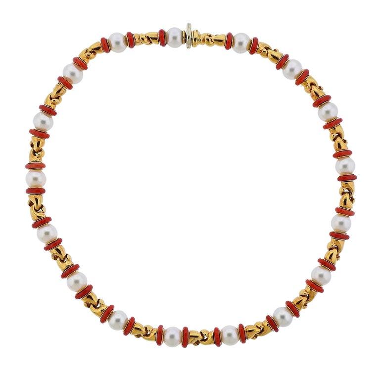 Bulgari Passo Doppio Coral Pearl Gold Necklace For Sale