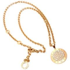 Bulgari Pave Diamond Rose Gold Pendant Necklace