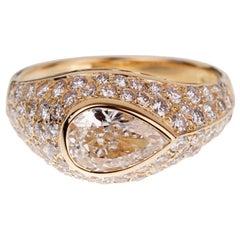Bulgari Pear Shaped Diamond Yellow Gold Cocktail Ring