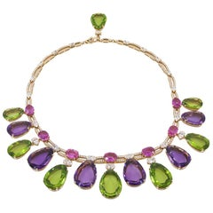 Bulgari Pear-Shaped Peridot, Pink Sapphire, Amethysts Necklace