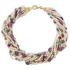 Bulgari Pearl and Multi Gem Torsade Necklace