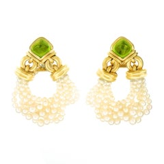Bulgari Pearl and Peridot Gold Chandelier Earrings