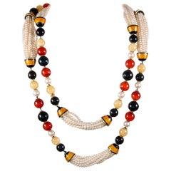 Bulgari Pearl, Enamel and Gemstone Necklace