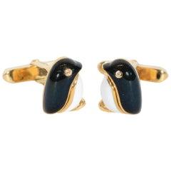Bulgari Penguin Enamel Cufflinks