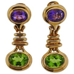 Bulgari Peridot Amethyst Gold Earrings