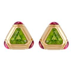 Bulgari Peridot and Pink Tourmaline Yellow Gold Triangular Earrings
