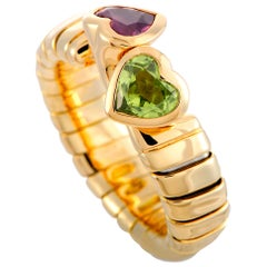 Bulgari Peridot and Tourmaline Yellow Gold Hearts Ring