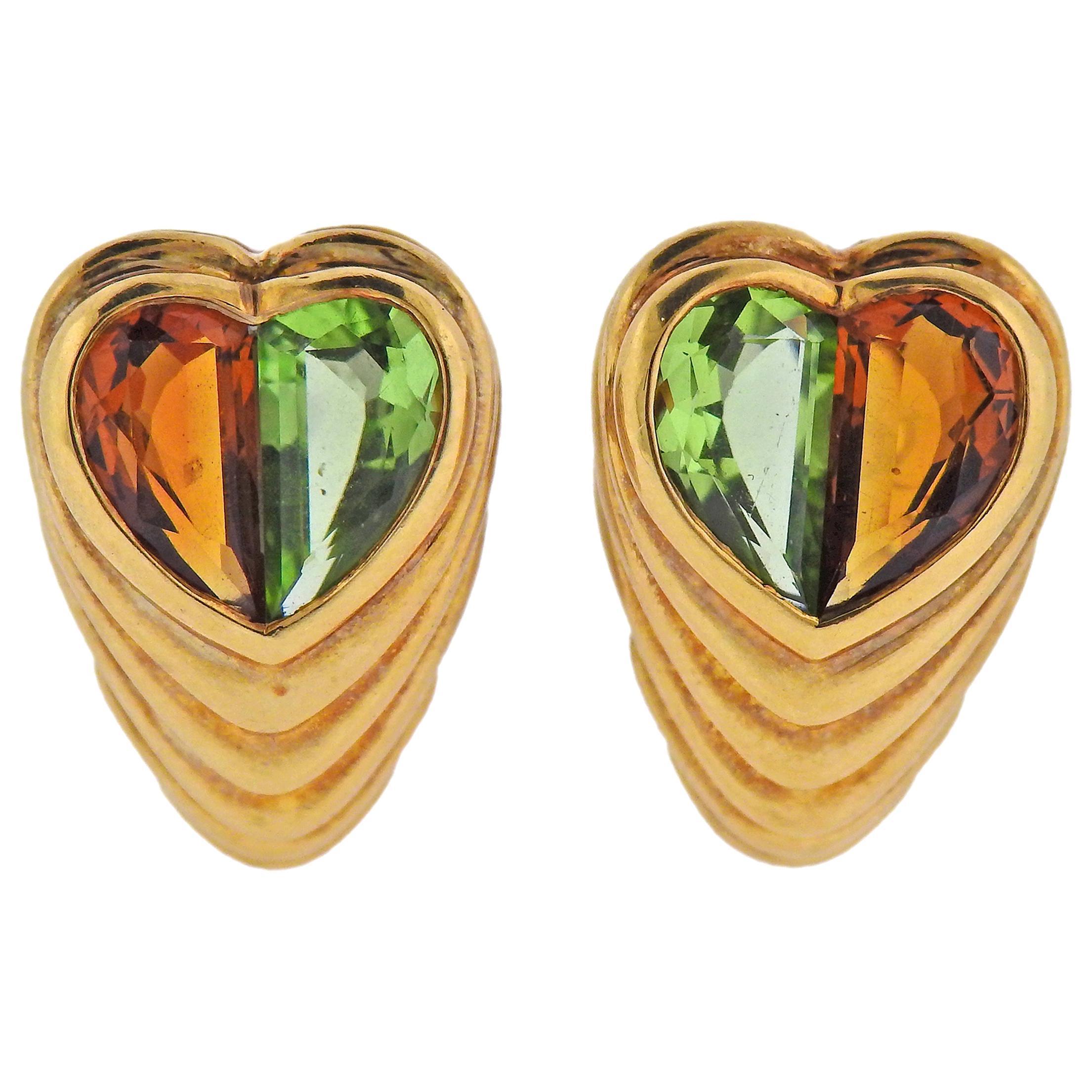 Bulgari Peridot Citrine Heart Gold Earrings