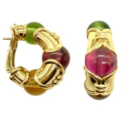Bulgari Peridot, Tourmaline, Citrine Yellow Gold Half Hoop Earrings
