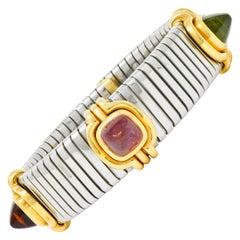 Bulgari Peridot Tourmaline Stainless Steel 18 Karat Gold Bracelet Tubogas