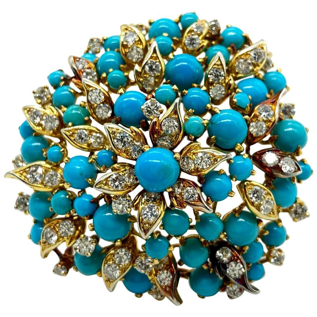 Bulgari Persian Turquoise and Diamond Yellow Gold Cluster Brooch