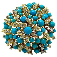Bulgari Persian Turquoise and Diamond Yellow Gold Cluster Brooch