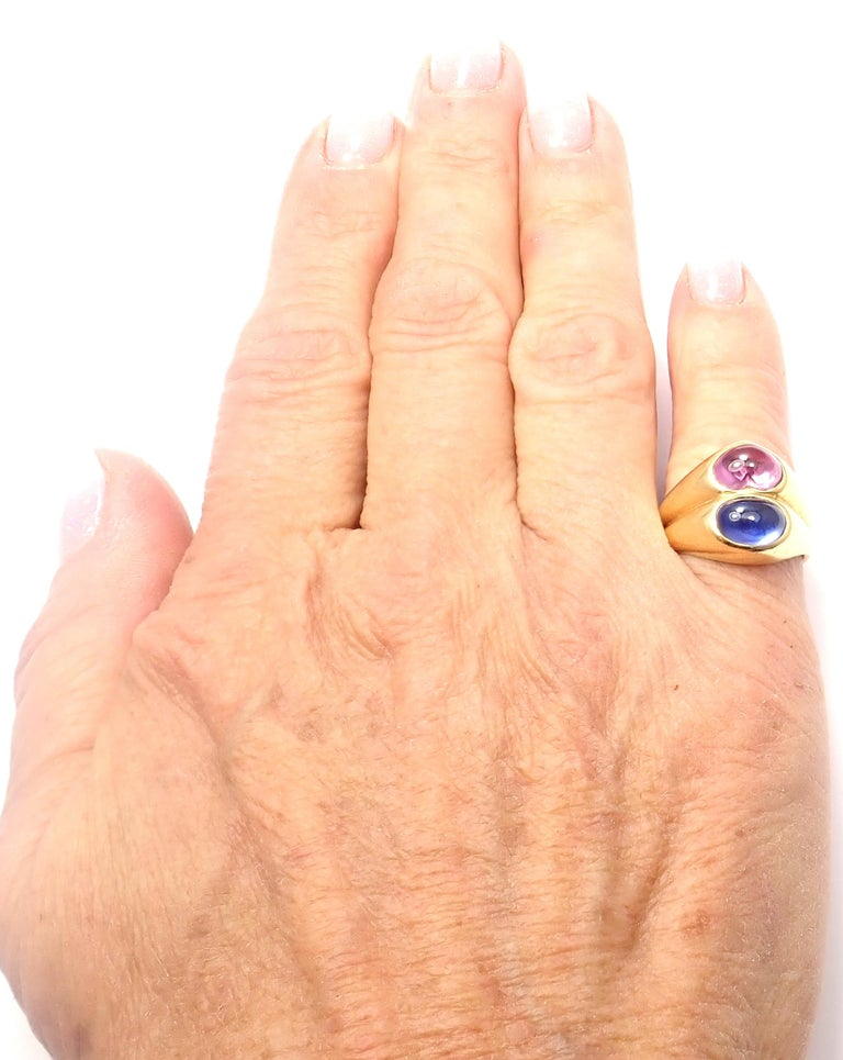 Bulgari Pink and Blue Sapphire Yellow Gold Ring For Sale 6