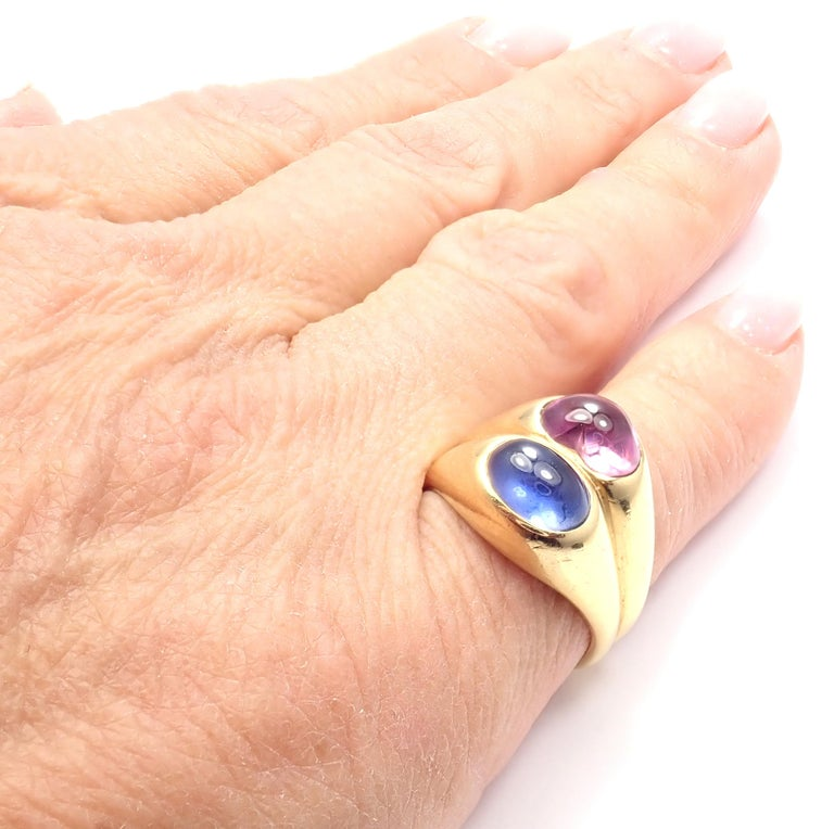 Bulgari Pink and Blue Sapphire Yellow Gold Ring For Sale 7