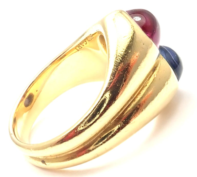 Bulgari Pink and Blue Sapphire Yellow Gold Ring In Excellent Condition For Sale In Holland, PA