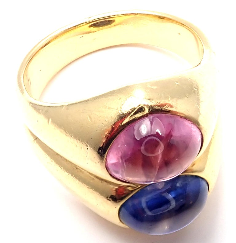 Bulgari Pink and Blue Sapphire Yellow Gold Ring For Sale 2