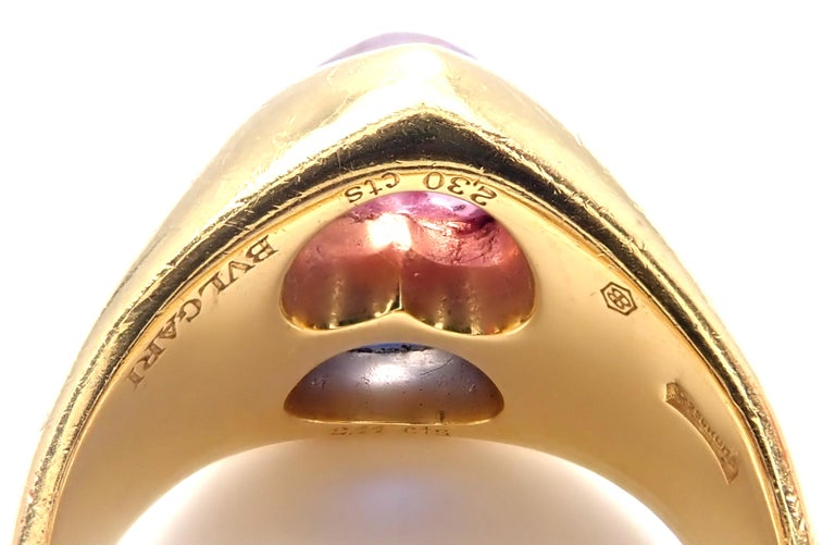 Bulgari Pink and Blue Sapphire Yellow Gold Ring For Sale 3