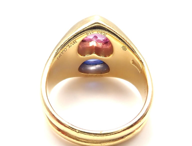 Bulgari Pink and Blue Sapphire Yellow Gold Ring For Sale 5