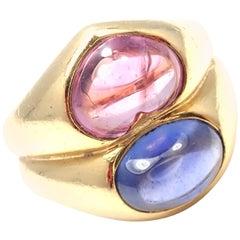 Bulgari Pink and Blue Sapphire Yellow Gold Ring