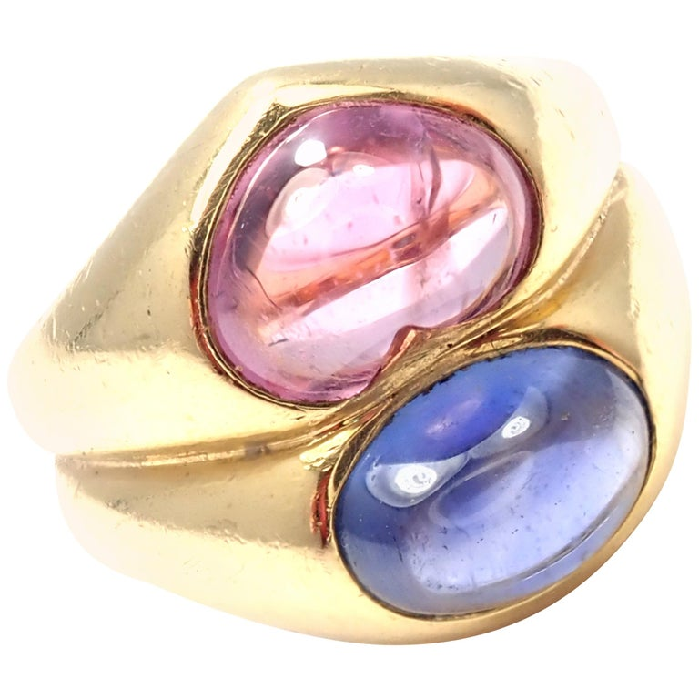 Bulgari Pink and Blue Sapphire Yellow Gold Ring For Sale