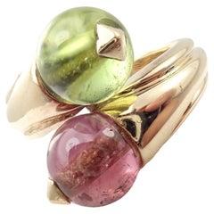 Bulgari Pink and Green Tourmaline Yellow Gold Bypass Ring