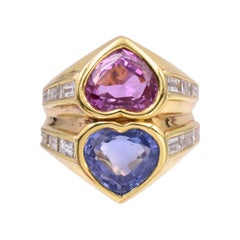Bulgari Pink and Blue Sapphire and Diamond Ring