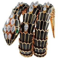 Bulgari Pink Gold Diamond and Black Lacquer Serpenti Watch