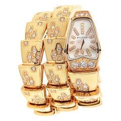 Bulgari Pink Gold Enamel Diamond Serpent Bracelet Watch
