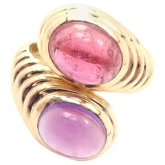 Bulgari Pink Tourmaline and Amethyst Yellow Gold Ring