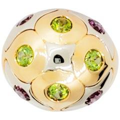 Bulgari Pink Tourmaline and Peridot Ring in 18 Karat Yellow Gold