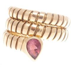 Bulgari Pink Tourmaline Gold Tubogas Serpenti Ring