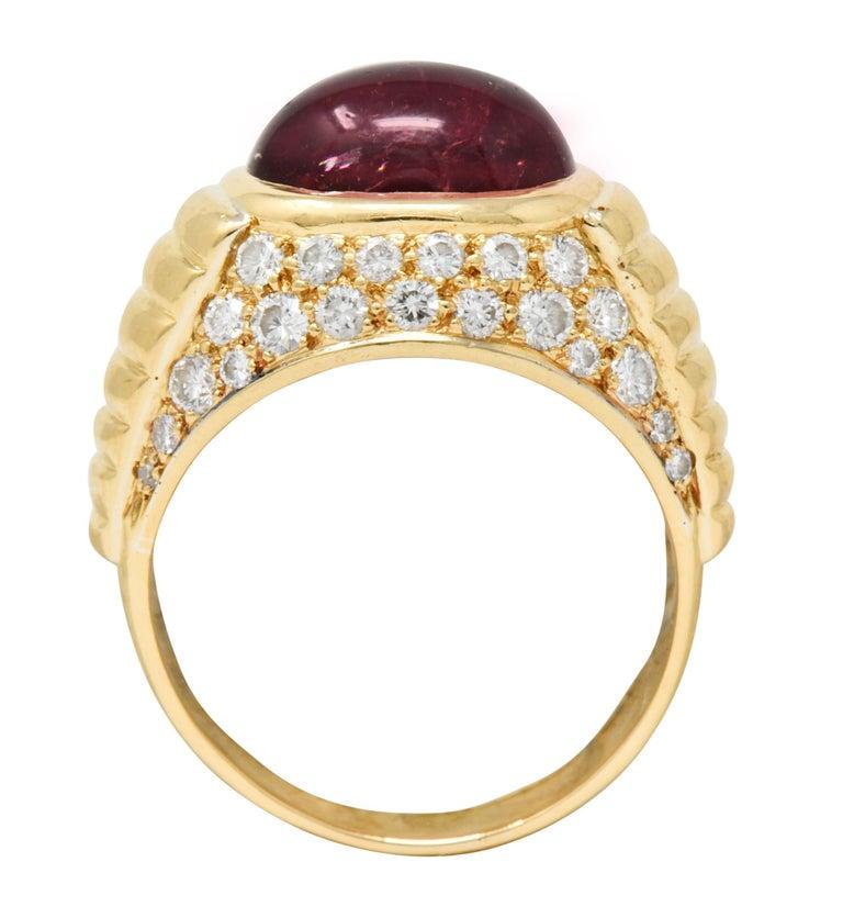 Bulgari Pink Tourmaline Pave Diamond 18 Karat Gold Italian Cabochon Band Ring For Sale 5