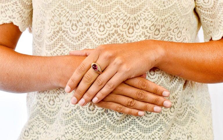 Bulgari Pink Tourmaline Pave Diamond 18 Karat Gold Italian Cabochon Band Ring For Sale 6