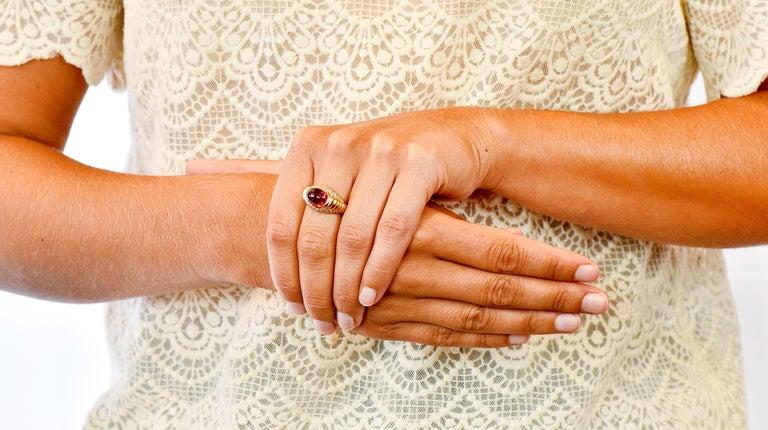 Bulgari Pink Tourmaline Pave Diamond 18 Karat Gold Italian Cabochon Band Ring For Sale 8