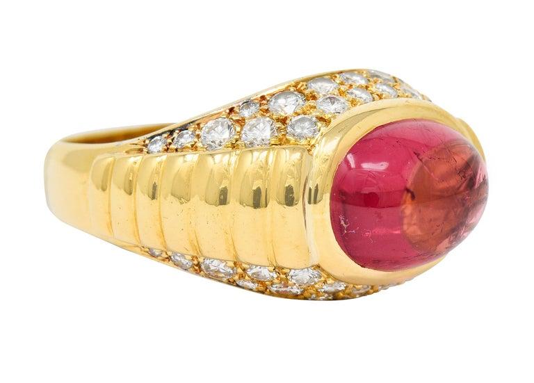 Contemporary Bulgari Pink Tourmaline Pave Diamond 18 Karat Gold Italian Cabochon Band Ring For Sale