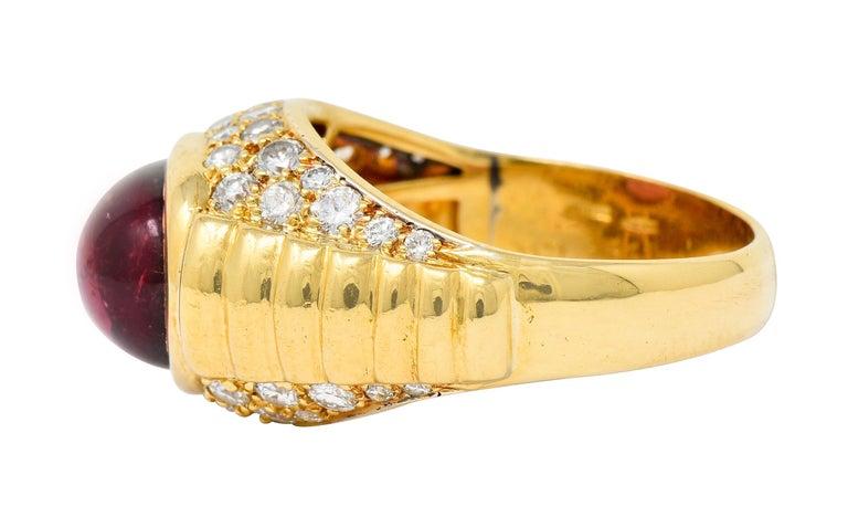 Bulgari Pink Tourmaline Pave Diamond 18 Karat Gold Italian Cabochon Band Ring For Sale 1
