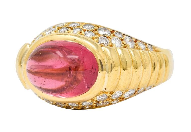 Bulgari Pink Tourmaline Pave Diamond 18 Karat Gold Italian Cabochon Band Ring For Sale 2