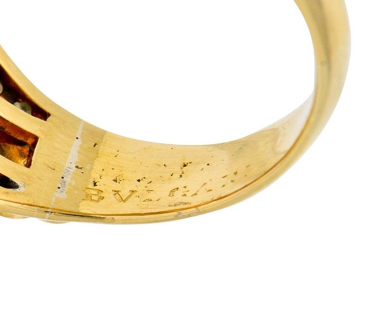 Bulgari Pink Tourmaline Pave Diamond 18 Karat Gold Italian Cabochon Band Ring For Sale 3