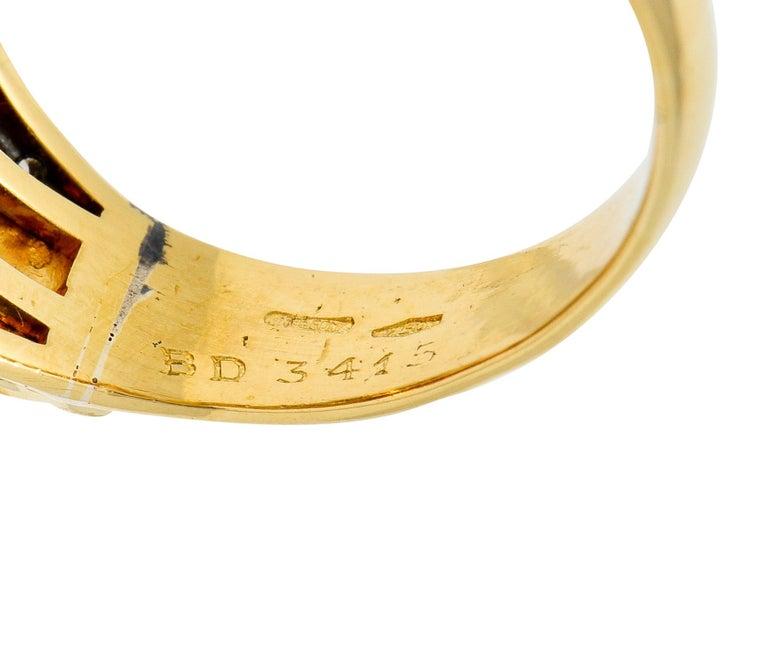 Bulgari Pink Tourmaline Pave Diamond 18 Karat Gold Italian Cabochon Band Ring For Sale 4