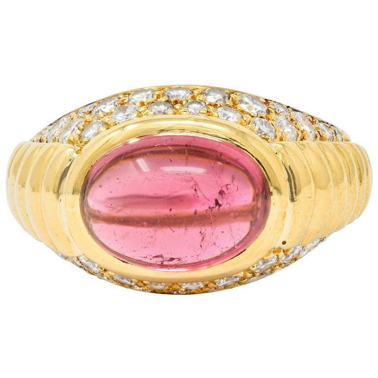 Bulgari Pink Tourmaline Pave Diamond 18 Karat Gold Italian Cabochon Band Ring For Sale