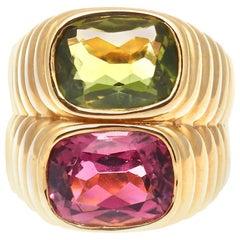 Bulgari Pink Tourmaline Peridot 18 Karat Ring