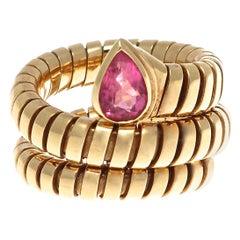 Bulgari Pink Tourmaline Tubogas Serpenti Ring