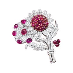 Bulgari Platinum and 18 Karat Yellow Gold Ruby and Diamond Flower Brooch
