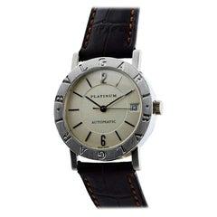 Bulgari Platinum Round Automatic Watch with Original Box and Buckle Watch