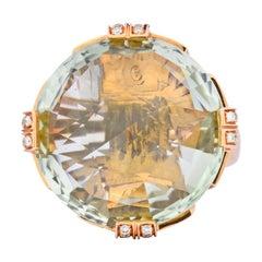 Bulgari Prasiolite Diamond 18 Karat Rose Gold Parentesi Cocktail Ring